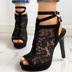 Bayanlar PU Topuklu ayakkabı Peep Toe Ile Toka ayakkabı