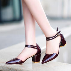 Pentru Femei Piele Breveta Toc gros Sandale Încălţăminte cu Toc Înalt Închis la vârf Mary Jane cu Cataramă pantofi