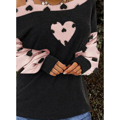 Tisk Color Block Srdce Jedno rameno Dlouhé rukávy Neformální Blůzy