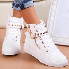 Pentru Femei PU Fară Toc Cizme Botine Vârf scăzut Deget rotund cu Nit Fermoar Lace-up Culoare solida pantofi