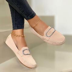 Dámské PU Placatý podpatek Boty Bez Podpatku Kolem špičky Mokasíny Hodit na sebe S Přezka Solid Color obuv