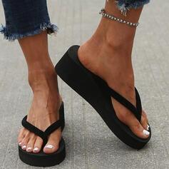 De mujer PVC Tipo de tacón Sandalias Cuñas Chancletas Pantuflas Tacones con Color de empalme zapatos