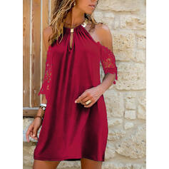 Lace/Solid 1/2 Sleeves/Cold Shoulder Sleeve Shift Above Knee Little Black/Casual/Vacation Dresses