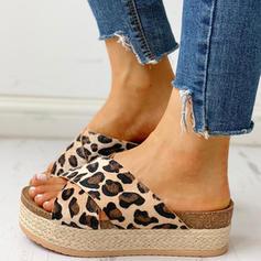 Bayanlar PU Düz topuk Sandalet Peep Toe Terlik Ile Hayvan baskı ayakkabı