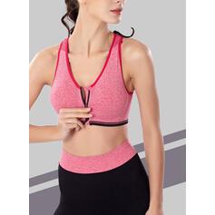 Cuello en V Sin mangas Bloque de color Sujetadores deportivos