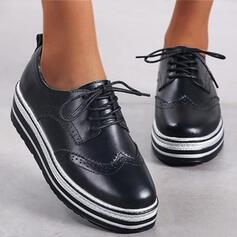 Kvinder Kunstlæder Flad Hæl Fladsko Platform Round Toe med Blondér Stripe sko