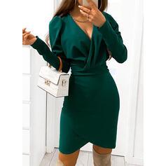 固体 長袖/パフスリーブ ボディコンドレス 膝上 リトルブラックドレス/パーティー/エレガント ドレス