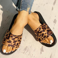 Women's PU Flat Heel Sandals Flats Peep Toe Slippers With Animal Print shoes