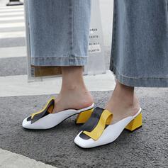 De mujer PU Tacón ancho Salón Cerrados Pantuflas con Material Block zapatos