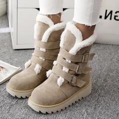 フラットヒール スノー・ブーツ、雪用のブーツ 冬用ブーツ とともに バックル ソリッドカラー 靴