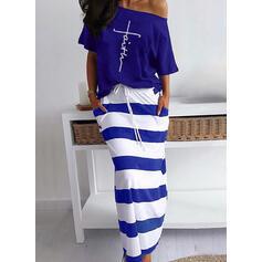 Print/Striped Short Sleeves Sheath Casual Midi Dresses