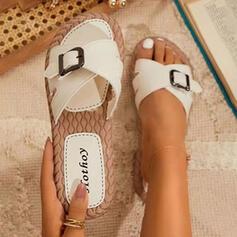 De mujer PU Tacón plano Sandalias Encaje Pantuflas con Hebilla Color sólido zapatos