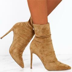 婦人向け スエード スティレットヒール ブーツ とともに ジッパー ソリッドカラー 靴