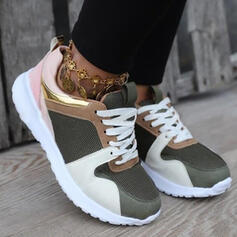 Femmes Mesh Talon plat Chaussures plates Low Top avec Patchwork Couleur d'épissure chaussures