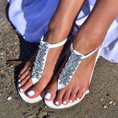 De mujer Cuero Tacón plano Sandalias Planos con Rhinestone Flor zapatos