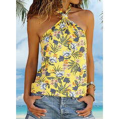 Print Floral V-Neck Cold Shoulder Sleeveless Casual Sexy Tank Tops