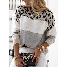 Blocchi di colore leopardo Girocollo Casual Maglioni