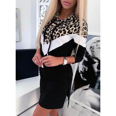 Color-block/Leopard Dlouhé rukávy Splývavé Nad kolena Neformální Mikina Šaty