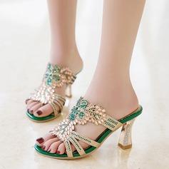 De mujer Cuero Tacón ancho Sandalias con Crystal Agujereado zapatos