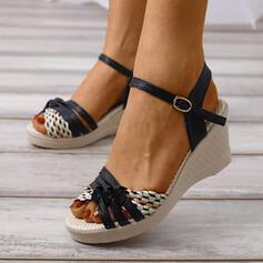 PU Γωνία κλίσης Σανδάλια Πλατφόρμα Σφήνες Με Πόρπη Κουκούλα-έξω παπούτσια