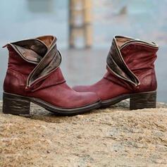 Mulheres PU Salto robusto Bota no tornozelo com Divisão separada sapatos