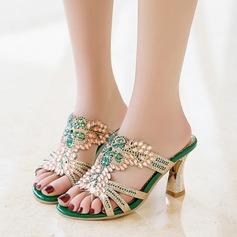 Brillo Chispeante Tacón stilettos Sandalias Pantuflas con Rhinestone Tacones con joya zapatos