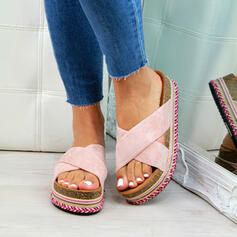 Dla kobiet Zamsz Płaski Obcas Sandały Z Jednolity kolor obuwie