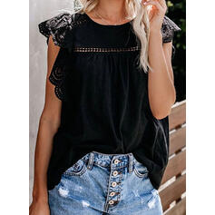 Solid Lace Round Neck Cap Sleeve Casual Elegant Tank Tops