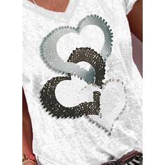 Nadruk Serce Dekolt w kształcie litery V Krótkie rękawy Casual T-shirty