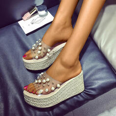 De mujer PU Tipo de tacón Pantuflas con Perla zapatos