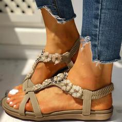 Women's PU Flat Heel Sandals Flats Peep Toe With Rhinestone Flower shoes