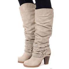 Vrouwen Kunstleer Chunky Heel Pumps Laarzen met Roes schoenen