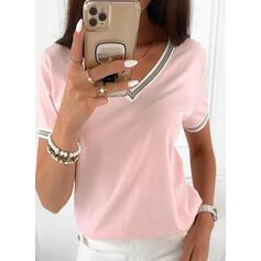 Jednolity Dekolt w kształcie litery V Krótkie rękawy Casual T-shirty