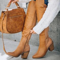 Donna Similpelle Tacco spesso Stivali sopra il ginocchio Stivali invernali con Cerniera Colore solido scarpe