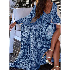 Print Long Sleeves A-line Casual/Party/Boho/Vacation Maxi Dresses