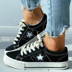 Kvinnor Duk Flat Heel Platta Skor / Fritidsskor rund tå med Bandage skor