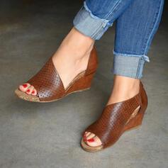 De mujer PU Tipo de tacón Sandalias Cuñas Encaje con Cremallera Agujereado zapatos