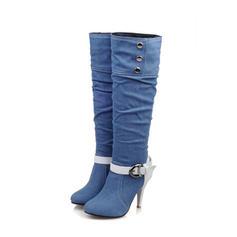 Femmes Treillis Talon stiletto Escarpins Bottes Bottes hautes avec Strass Boucle chaussures