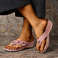 Kvinder PU Kile Hæl sandaler Flip Floppere Tøfler med Blomst sko