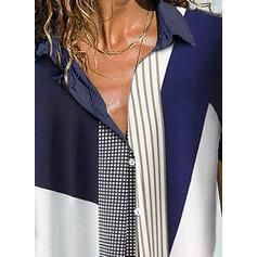 Trozos de color Solapa Manga Corta Casual Blusas