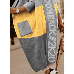 Stampa Blocchi di colore Tasche Cappuccio Casual Lungo Cardigan