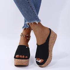 De mujer PU Tipo de tacón Sandalias Cuñas Pantuflas con Rivet zapatos