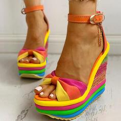Women's Canvas Wedge Heel Sandals Wedges Peep Toe With Buckle Splice Color shoes