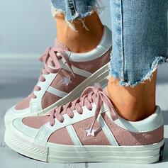 Dla kobiet Płótno Płaski Obcas Plaskie Round Toe Z Sznurowanie obuwie