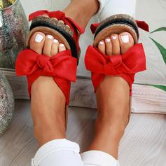 De mujer PVC Tacón plano Sandalias Planos con Bowknot zapatos