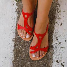 De mujer PU Tacón plano Sandalias Pantuflas con Agujereado zapatos