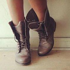 Pentru Femei PU Fară Toc Balerini Închis la vârf Cizme cu Lace-up pantofi