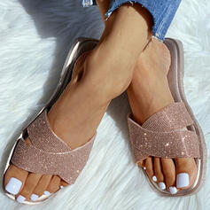 De mujer PVC Tacón plano Pantuflas con Brillo Chispeante zapatos