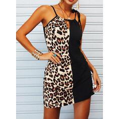 Tisk/Color Block/Leopard Bezrukávů Pouzdrové Nad kolena Neformální Košilka Šaty