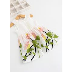 Chicas Cuello redondo Floral Bordado Casual Lindo Vestido